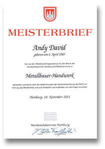Meisterbrief Andy David